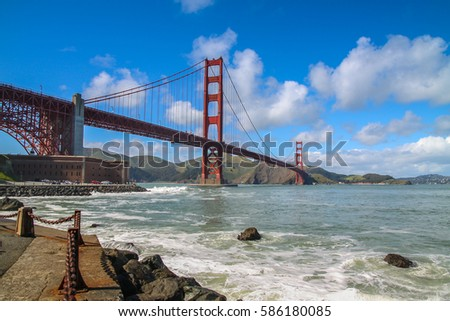 The most famous bridge of the world, the Golden Gate Bridge in San Francisco
