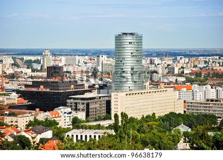 The most famous buildings dominate the city of Bratislava - stock photo