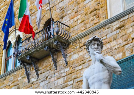 The most famous statue in Florence, David of Michelangelo, Italy. - stock photo