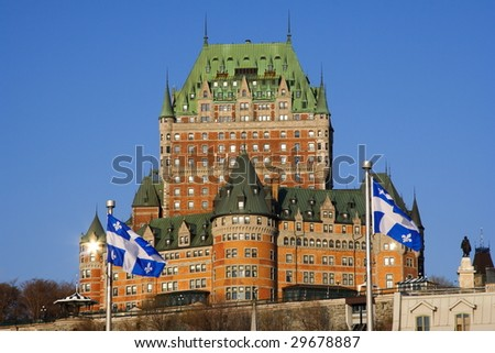 The most famous tourist attraction in Quebec City: Chateau Frontenac. - stock photo