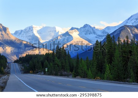 The most picturesque road in Banff and Jasper national parks, Canada - stock photo