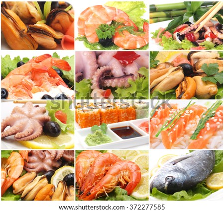 The most refined seafood dishes - stock photo