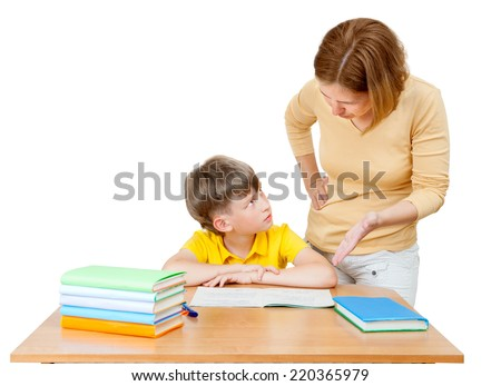 the mother explains to her son-schoolboy solution of the task - stock photo