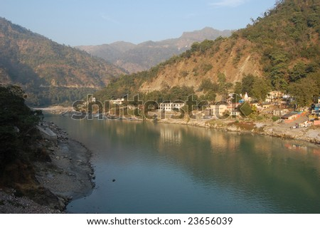 The Mother Ganga river in Rishikesh - stock photo