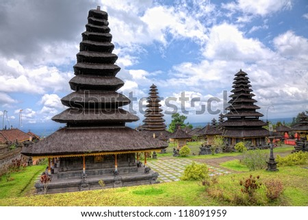 The Mother Temple of Besakih or Pura Besakih, largest and holiest hindu temple on Bali, Indonesia - stock photo
