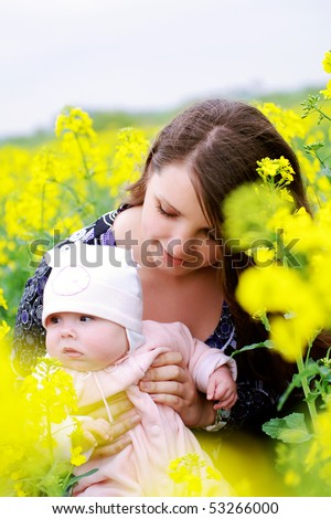 the mother with her baby - stock photo