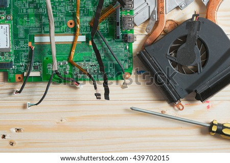 The motherboard is broken or smashed And has been repaired - stock photo