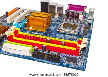 The motherboard of computer isolated on a white background. Socket 775