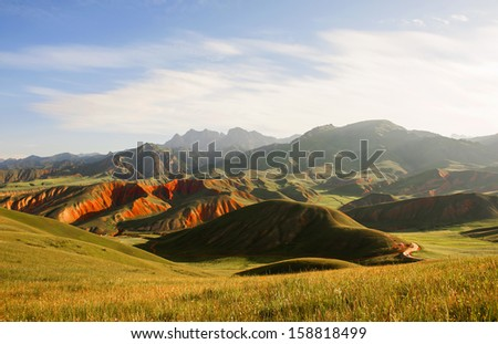 The motning of  Mount Danxia in Qinghai, China