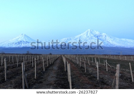 The mount Ararat at night in winter, Armenia