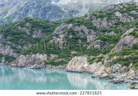 The mountain and sea view in Glacier Bay National Park and Preserve, Alaska, USA - stock photo