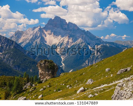 The mountain lift Cristallo dolomites Italy - stock photo