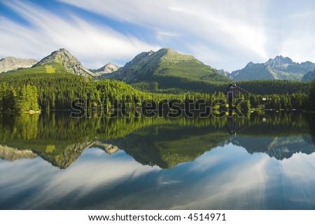 the mountain panorama of range of High Tatras, Strbske pleso, lake - stock photo