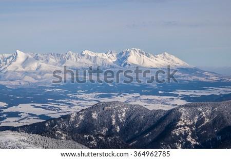 The mountain range of High Tartas, Slovakia, wide panoramic view - stock photo