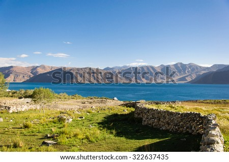 The mountain ranges surrounding Pangong Tso Lake at the morning, Leh, Ladakh, Jammu and Kashmir, India