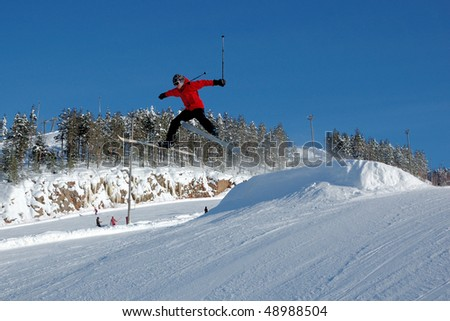 The mountain skier - stock photo