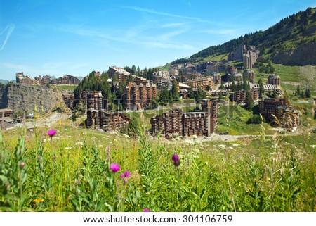 the mountain summer resort of Avoriaz, France - stock photo