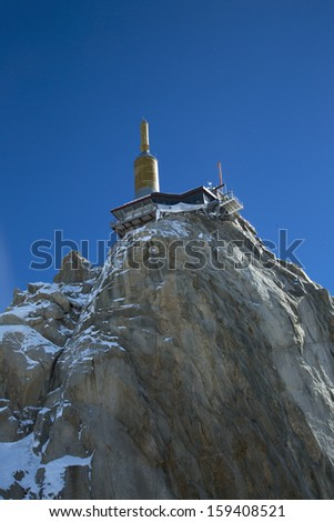 The mountain top station of the Aiguille du Midi (3842 m) in Chamonix, France.