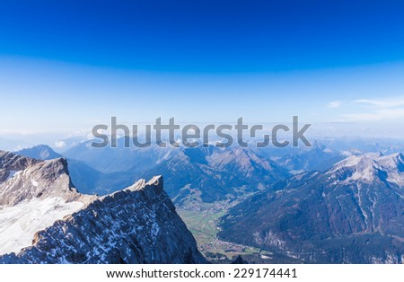 The mountain view with blue sky at Top of Germany, Zugspitze in Germany - stock photo