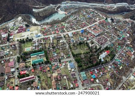 The mountain village Krasnaya Polyana, Krasnodar krai, Sochi, Russia, top view - stock photo
