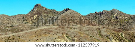 The mountains along Spirit Lake Memorial Highway shows the destruction more than 30 years after the eruption of Mt St Helens. - stock photo