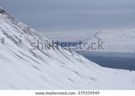 The mountains and Bay near Longyearbyen, Spitsbergen (Svalbard). Norway - stock photo