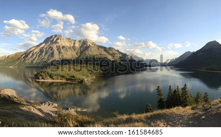 The mountains and lake of Waterton Provincial Park, Alberta, Canada - stock photo