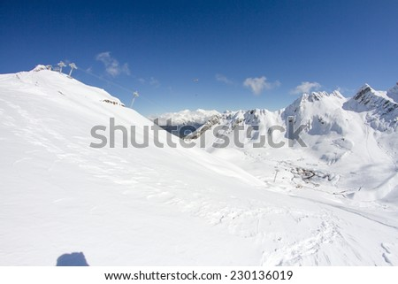 The mountains in ski resort Krasnaya Polyana, Sochi, Russia - stock photo