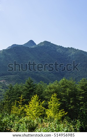 The mountains scenery with blue sky