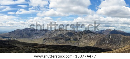 the mourne mountains in ireland a panorama - stock photo