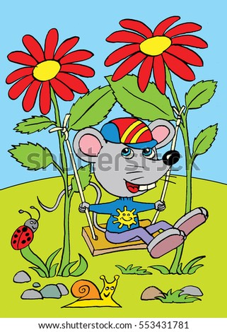 The mouse on the swing made from two flowers, cartoon