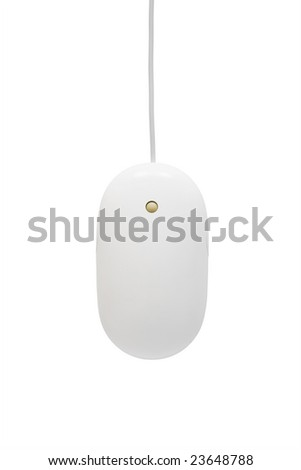 The mouse with a wheel on a white background - stock photo