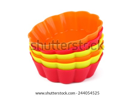 The muffin cups on white background