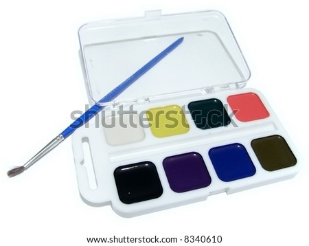 The multicolored aquarelle with one paintbrush