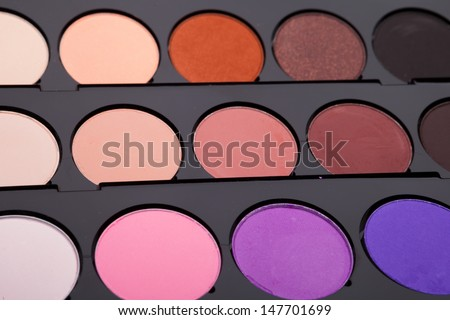 the multicolored eye shadows for make up - stock photo