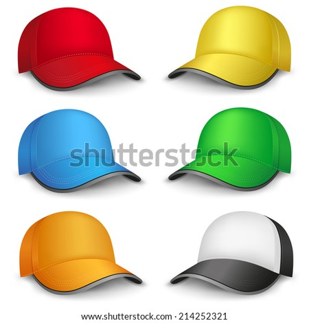 The multicolored mesh empty template cap on the white background - stock photo