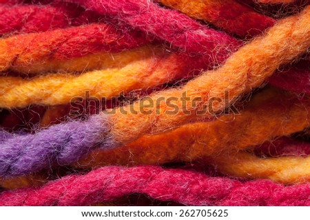 The multicolored yarn - stock photo
