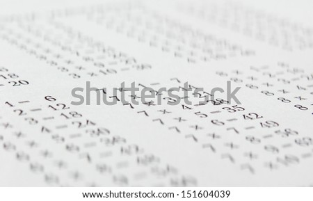 The multiplication table. - stock photo