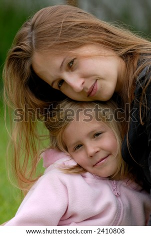 the mum with a daughter - stock photo
