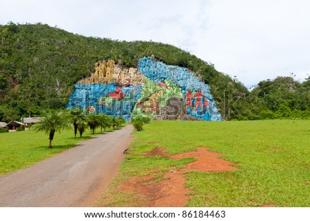 The Mural of Prehistory in the cuban Vinales valley - stock photo