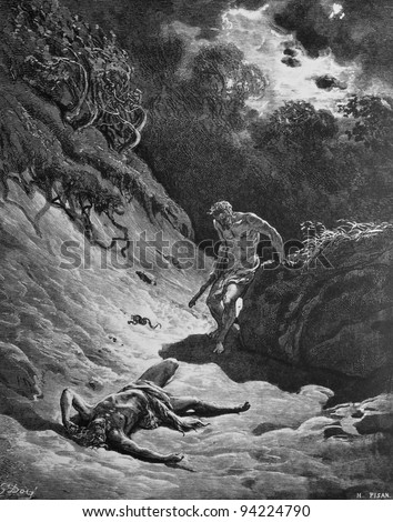 The murder of Abel. 1) Le Sainte Bible: Traduction nouvelle selon la Vulgate par Mm. J.-J. Bourasse et P. Janvier. Tours: Alfred Mame et Fils. 2) 1866 3) France 4) Gustave Doré - stock photo