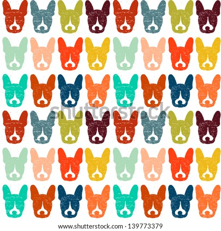The Murphster, French Bulldog Seamless Dog Pattern - stock photo