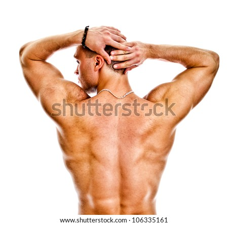 The muscular bodybuilder back. Isolated on white. - stock photo