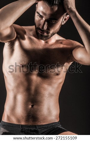 The Muscular Young Sexy Naked Cute Man - stock photo