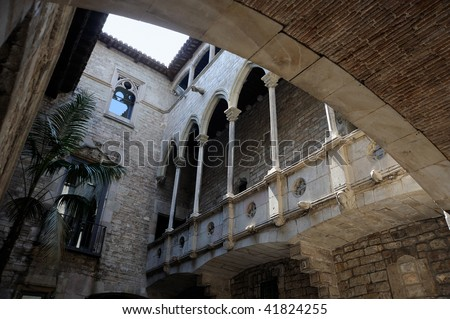 The Museu Picasso's cloister in BArcelona - Spain - stock photo