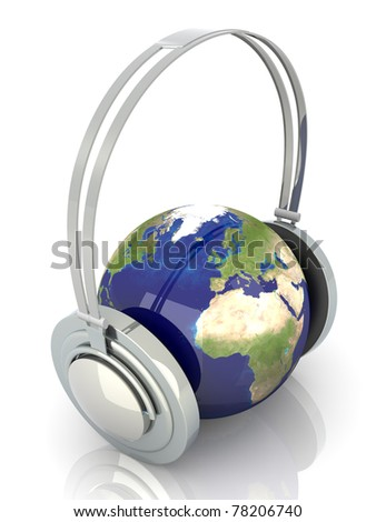 The music of Europe. Headphones and a world globe. 3D rendered Illustration. - stock photo