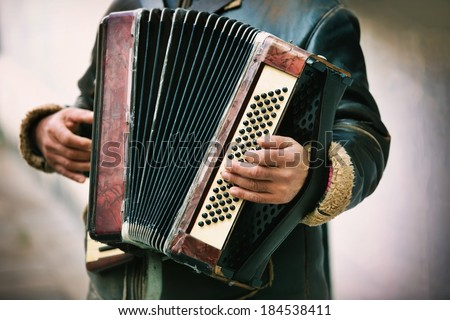 The musician playing the accordion - stock photo