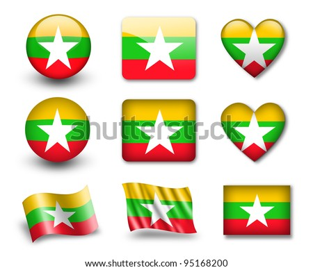 The Myanmar flag - set of icons and flags. glossy and matte on a white background. - stock photo