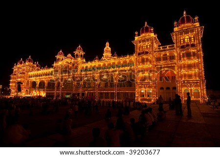 The Mysore Palace, India - lit up during the Dasara festival - stock photo