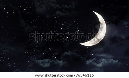 the mystery half moon at the night sky - stock photo